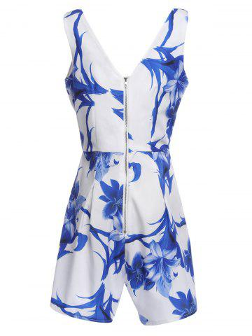 Fashion Fashion Plunging Neck Floral Print Sleeveless Romper For Women - S COLORMIX Mobile