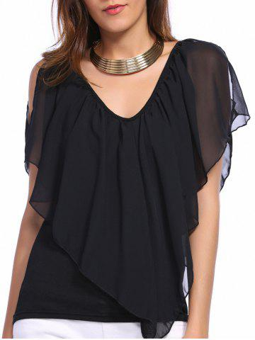 Sale V Neck Cold Shoulder Overlay Chiffon Blouse