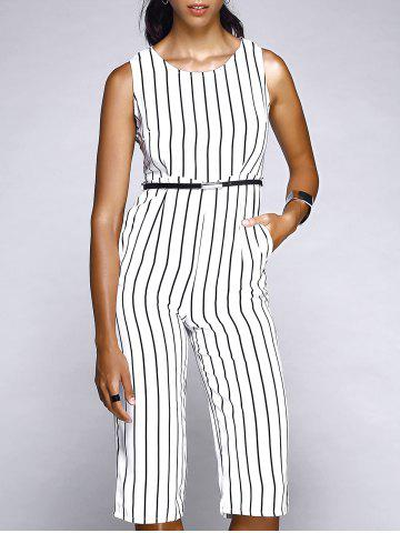 Outfit Sleeveless Vertical Striped Capri Jumpsuit WHITE L