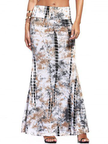 Sale Tie-Dyed Maxi Skirt - L COLORMIX Mobile