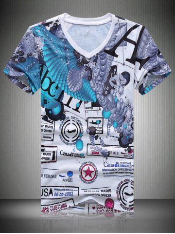 Online Casual Letters Printing T-Shirt For Men COLORMIX 2XL
