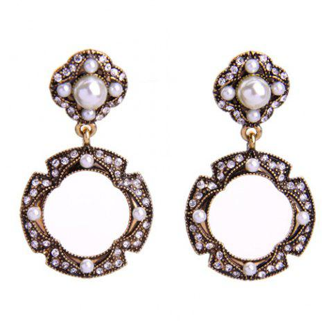 Chic Pair of Vintage Faux Pearl Round Hollow Out Earrings For Women