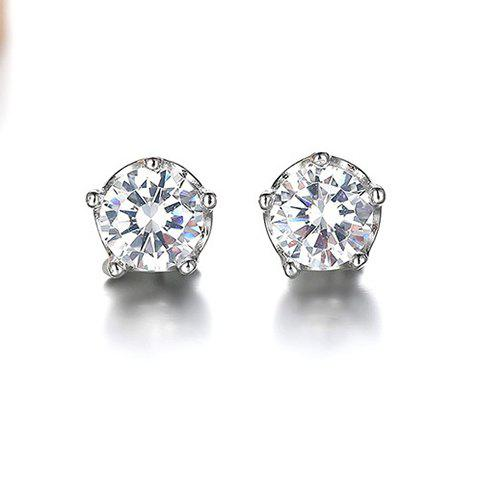 Fancy Pair of Stylish Zircon Inlay Crown Setting Elegant Lady Style Stud Earrings - WHITE  Mobile