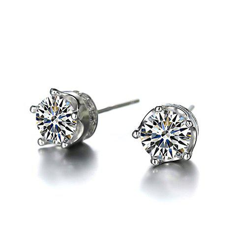 Outfits Pair of Stylish Zircon Inlay Crown Setting Elegant Lady Style Stud Earrings - WHITE  Mobile