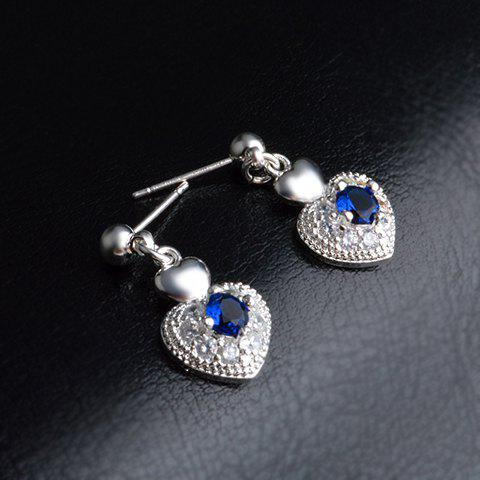 Fashion Pair of Stylish Faux Sapphire Setting Sweet Double Hearts Shape Dangle Earrings