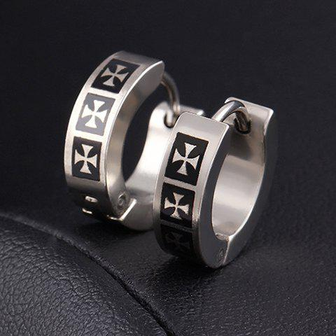 Latest Pair of Stylish Gothic Style Crossover Pattern Hoop Earrings