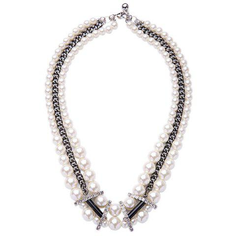 Cheap Multilayered Faux Pearl Necklace WHITE
