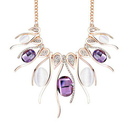 Affordable Noble Faux Amethyst Rhinestoned Necklace For Women PURPLE