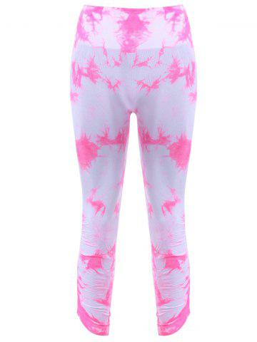 Active Elastic Waist Tie Dyed Women's Cropped Leggings - PINK - XS