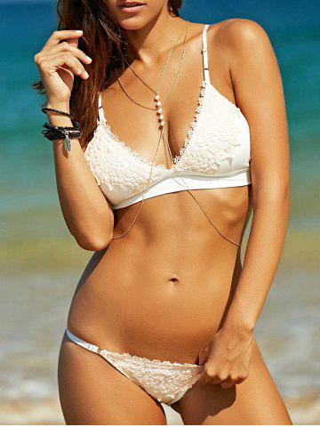 Cheap Stylish Strappy Crochet Bikini Set  For Women