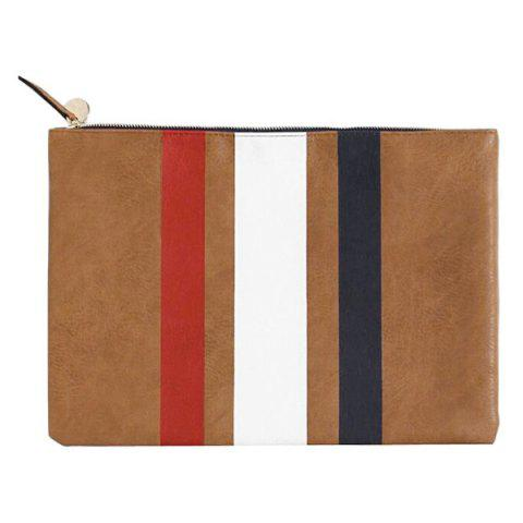 Online Leisure Colour Block and Striped Design Clutch Bag For Women
