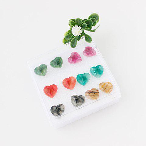 Discount A Suit of Graceful Heart Shape Earrings For Women COLORMIX