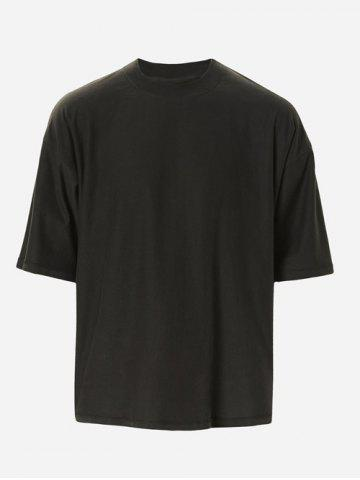 Store Solid Color Loose Half Sleeves T-Shirt For Men