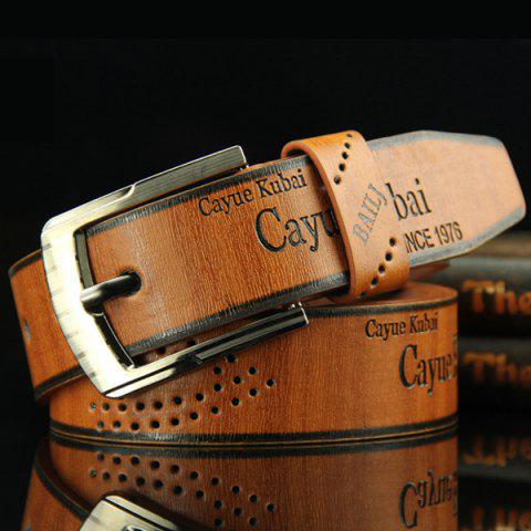 Fashion Stylish Hollow Out Hole Embellished Retro PU Wide Belt For Men - BROWN  Mobile