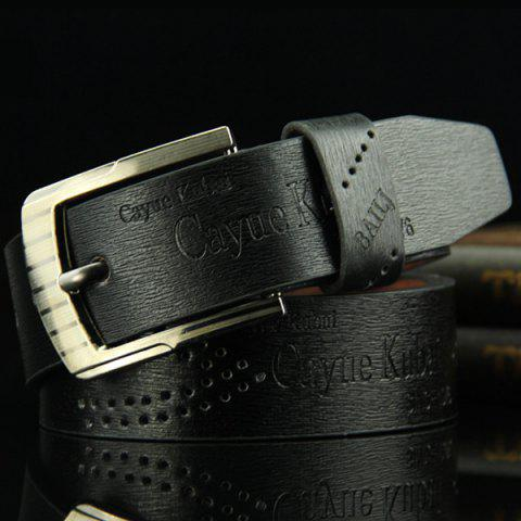 Outfit Stylish Hollow Out Hole Embellished Retro PU Wide Belt For Men - BLACK  Mobile