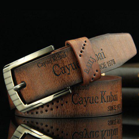 Stylish Hollow Out Hole Embellished Retro PU Wide Belt For Men - Coffee