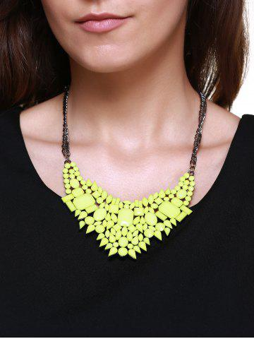Buy Geometric Faux Gem Embellished Pendant Necklace NEON GREEN