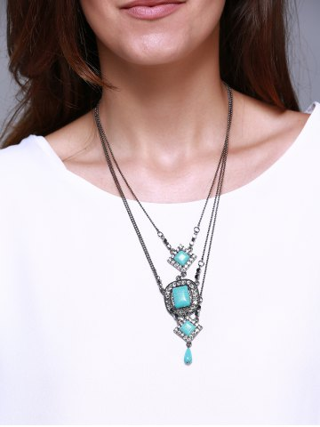 Shop Rhombus Oval Faux Turquoise Multilayered Necklace TURQUOISE