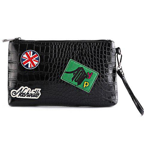 Latest Fashion Black Color and Zip Design Clutch Bag For Men BLACK