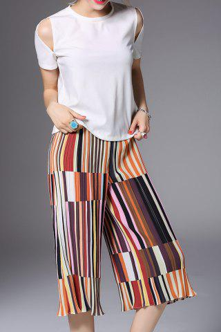 Store T-Shirt and Striped Pleated Pants Twinset