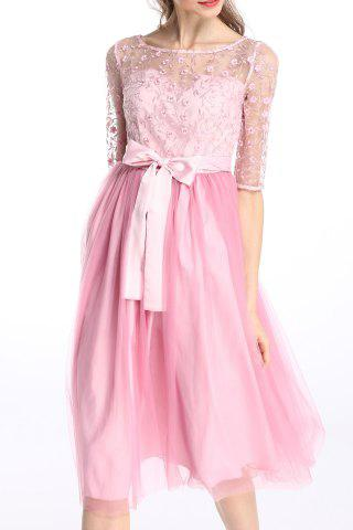 Fancy Sheer Floral Embroidered Tulle Splicing Dress