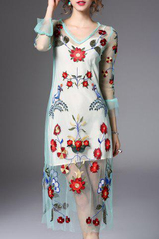 Trendy Flower Embroidered Voile Midi Dress with Tank Top