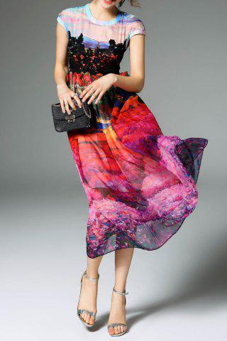 Latest Printed Silk Dress With Contrast Lace