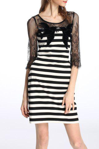Outfits Lace Splicing Striped Dress