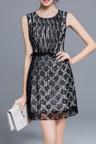 Online Pleated Mesh Splicing Dress