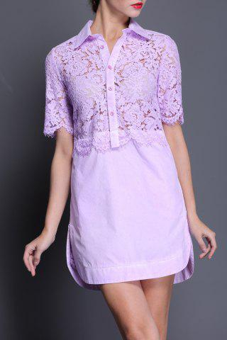 Best Lace Splicing Straight Shirt Dress