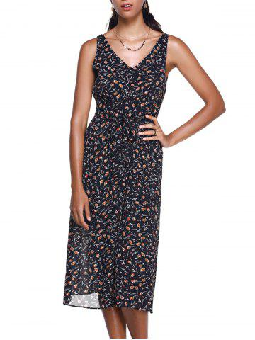 Store Fashionable Small Broken Flower V-Neck  Meadow Maxi Dress BLACK L