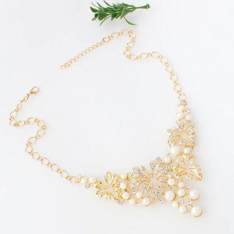 Latest A Suit of Fake Pearl Flower Necklace and Earrings - GOLDEN  Mobile