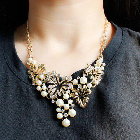 Shops A Suit of Fake Pearl Flower Necklace and Earrings - GOLDEN  Mobile
