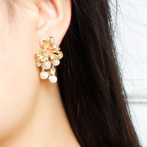 Sale A Suit of Fake Pearl Flower Necklace and Earrings - GOLDEN  Mobile