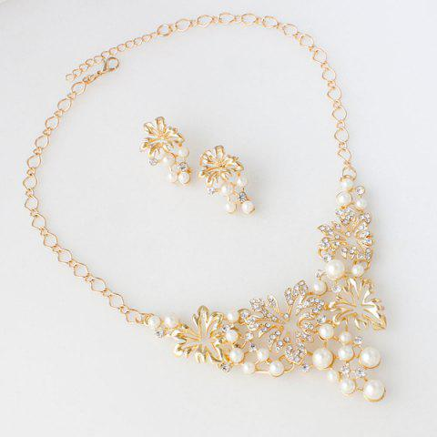 Online A Suit of Fake Pearl Flower Necklace and Earrings - GOLDEN  Mobile