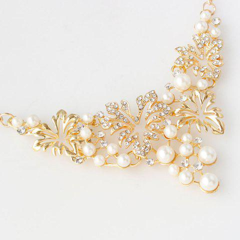 Shop A Suit of Fake Pearl Flower Necklace and Earrings - GOLDEN  Mobile