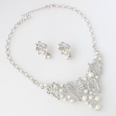 Sale A Suit of Fake Pearl Flower Necklace and Earrings - SILVER  Mobile