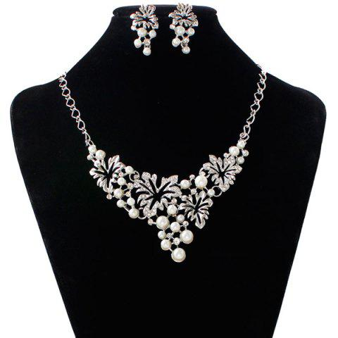 Shops A Suit of Fake Pearl Flower Necklace and Earrings SILVER