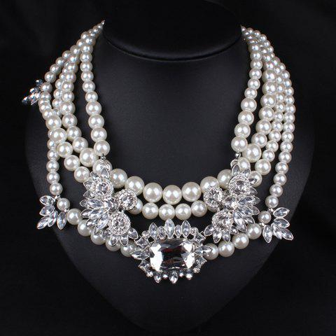 Sale Graceful Layered Faux Pearl Beads Necklace For Women WHITE