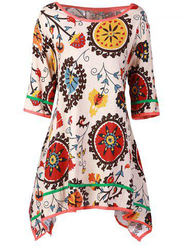 Latest Casual Scoop Collar 3/4 Sleeve Printed Asymmetrical Women's Dress