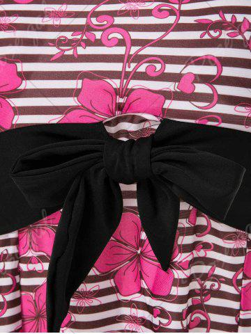 Store Halter Floral Striped Backless Tankini Set - 2XL BLACK AND PINK Mobile