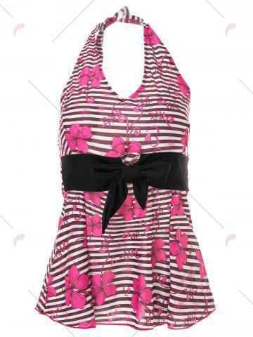 Outfits Halter Floral Striped Backless Tankini Set - 2XL BLACK AND PINK Mobile