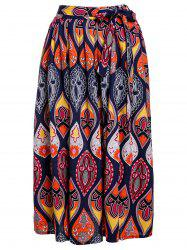 Ethnic Style Elastic Waist Mid-Waisted Printed Women's Skirt -