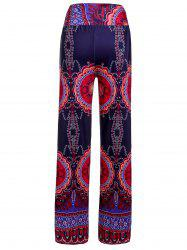 Ethnic Style Elastic Waist Floral Print Exumas Pants For Women - COLORMIX