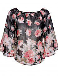 Sweet Off-The-Shoulder Floral Print Long Sleeve Blouse For Women -