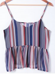 Fashionable Spaghetti Straps Striped Top For Women - COLORMIX S