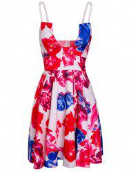 Trendy Spaghetti Strap Open Back Floral Print Women's Dress - COLORMIX M