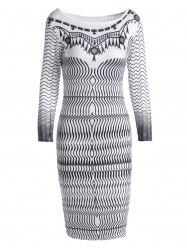 Stylish Round Collar 3/4 Sleeve Printed Bodycon Women's Dress