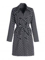 Vintage Turn-Down Collar Long Sleeve Polka Dot Self Tie Belt Women's Coat Dress - BLACK