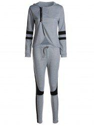 Stylish Hooded Long Sleeve Zippered Irregular Sweatshirt + Drawstring Pants Women's Twinset